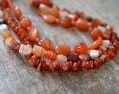 Chunky carnelian necklace Rust orange multistrand bib necklace Multi layer necklace Semi precious stone necklace