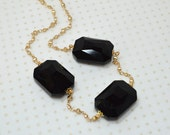 Jet black beaded gold chain necklace Big bold chunky necklace Large glass crystal gem Minimalist jewelry for women