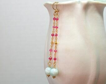 Ruby rosary chain earrings Amazonite drop earrings Delicate linear earrings Elegant gemstone long dangle earrings Ruby earrings
