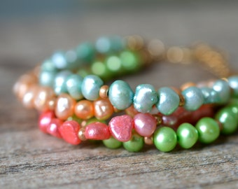 Colorful multistrand pearl bracelet Bright pastel yellow coral lime green blue multi layer bracelet Multi strand freshwater pearl jewelry