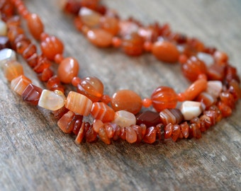 Chunky carnelian necklace Rust orange multistrand bib necklace Multi layer necklace Semi precious stone necklace