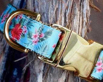 Hawaiian Dog Collar - Floral Dog Collar, Adjustable, Summer Dog Collar, Gold Buckle, Tropical, Unisex Dog Collar, Beach Dog Collar