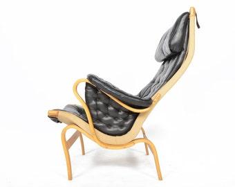 Swedish Mid Century Modern Bruno Mathsson Pernilla Beech Lounge Chair