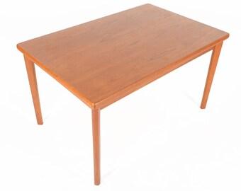 Danish Mid Century Modern Teak Draw Leaf Dining Table by Henning Kjaernulf
