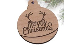 Antler Merry Christmas Ornament - Laser cut and Etched on Wood