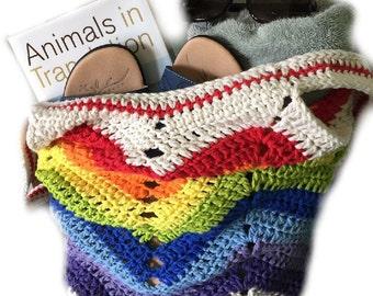 Crochet beach bag, rainbow bag, cotton bag, market bag, market tote, crochet purse, crochet bag pride bag--MADE TO ORDER