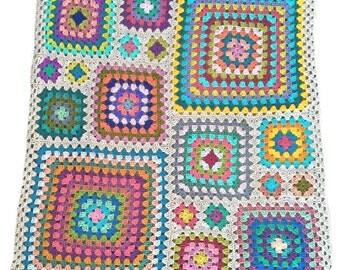 Crochet afghan crochet blanket handmade blanket kaleidoscope granny square afghan, light grey border 42 in. by 47 in., READY TO SHIP