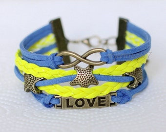 456 Women's color leather bracelet Infinity Stars Love bracelet Women bracelet Girl bracelet Charm bracelet Jewelry gift For women and girls