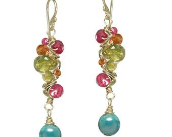 Ruby, Mandarin Garnet, Peridot, Turquoise Branch Earrings Guenevere 82
