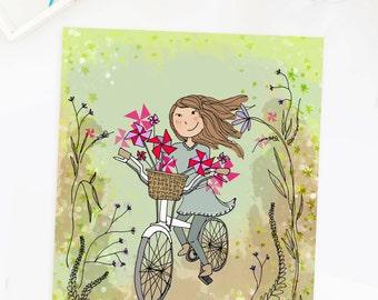 Girl on a Bicycle Illustration Wall Art Print Sketch Bike Flowers Floral Pinwheel Garden Drawing Poster Girls Room Kids Bedroom Nursery Art