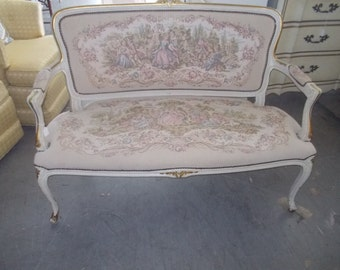 Classic mid century charming needlepoint french settee