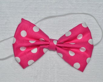 Hot Pink Polka dot Bow Headband READY TO SHIP