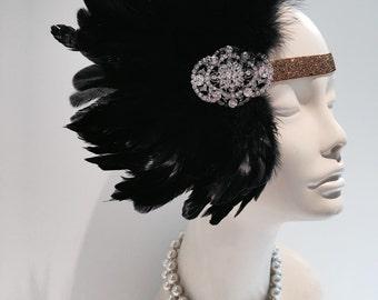 Speakeasy Headdress- Gatsby Headpiece- Great Gatsby- Flapper- 1920s Hair Accessory- Deco- Roaring 20s- Halloween -Cabaret Head Wrap- Flapper