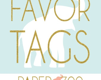 Printable Paper Zoo Favor Tags