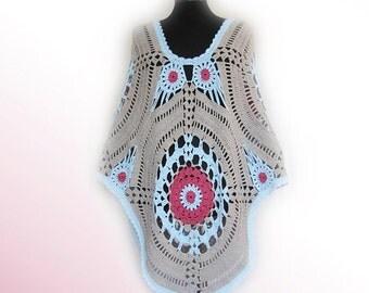 Boho Poncho,Hippie crochet poncho,Crochet poncho,boho crochet poncho,Hand knitted Festival hippie crochet clothing,Women poncho,Crochet Cape