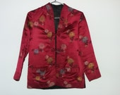 VALENTINES 15% OFF SALE  Vintage 1980s  Reversible   Chinese Red & Black Silk Jacket,   Gift,  Valentines Day