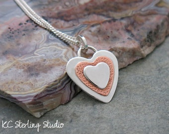 Sterling and copper heart handmade necklace - metalsmith silversmith