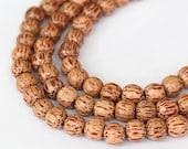 Palmwood Beads, Brown, 8mm Round - 15.5 inch Strand - eW677-8