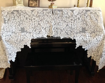 Vintage white lace swag shabby chic lace floral scalloped valance cottage lace window treatment by herminas cottage