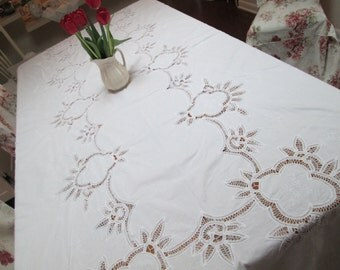 large vintage white lace  wedding  tablecloth, embroidered lace shabby chic lace  battenburg lace tablecloth,  lace banquet tablecloth