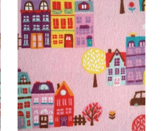 Day Care Cot Sheet - 100% Cotton Flannel - Little Town in Pink