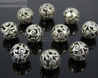 Tibetan Silver Carved Patterned Hollow Connector Spacer Round Charm Beads 12mm