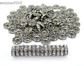 100Pcs Czech Crystal Rhinestone Clear on Gunmetal Rondelle Spacer Bead 4mm 5mm 6mm 8mm 10mm