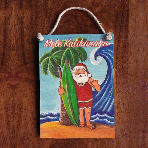 Surfing Santa Sign Hawaiian Sign Tropical Beach Decor Merry