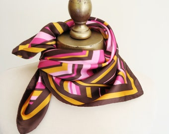 vintage neckscarf, chevron scarf, bright headwrap, 70s fashion, square scarves, Italian scarf, made in Italy