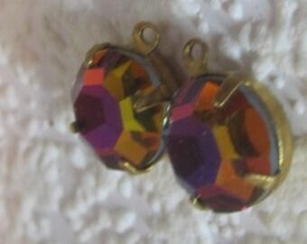Swarovski Crystal Vitrail Medium 15MM 1 Ring Brass Round Set Charm