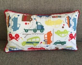 """Transportation Pillow with Cars, Trucks, Motorcycles in Reds, Blues, Limes, Browns and Yellows  """"Traffic Jam Retangle Pillow"""""""