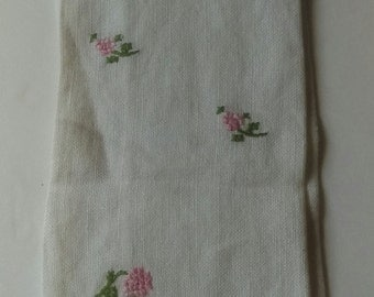 Antique Linen Pink Roses Embroidered White Tea Towel 1940s