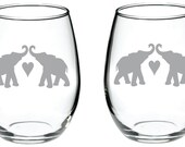 Elephant Couple Glass  FREE Personalization up to four words