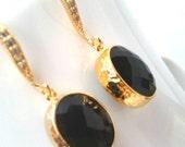 Black Onyx Gold Earrings, Wedding Jewelry, Bridesmaid Jewelry, Bridesmaid Gift ,Drop, Dangle Earrings,Gemstone, Black Earrings,Wedding gift