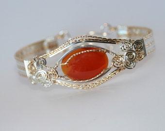 Sterling Silver and Gold Carnelian Bracelet