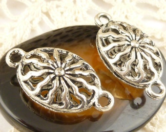 Connector Charm Ornate Filigree Puffed Oval , Antique Silver (4) - SF61