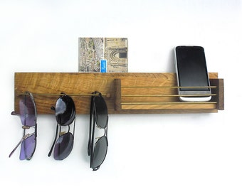 key and sunglasses wooden holder with mailbox, entryway organizer