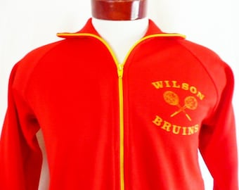 go bruins vintage 70's 80's Wilson High School tennis varsity color block two tone red track jacket gold stripe full zip warm up raglan Smal