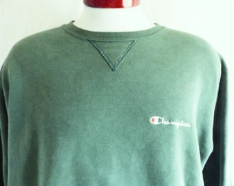 vintage 80's 90's Champion solid faded dark olive green reverse weave graphic sweatshirt crew neck embroidered chest logo pullover jumper LG