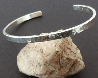 Classic Sterling Cuff Bracelet - Argentium® Silver Bracelet - Bright White, Tarnish Free - StoneJoyDesign by Petra Aine Ruger