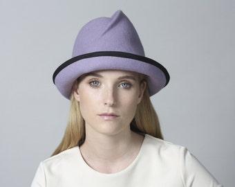 Fashionable Fedora Hat , Winter Hat , Women's Hat , Felt Hat For Women , Hats , Purple Felt Hat , Custom Fedora Hat