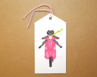 Cat on a Pink Vespa Gift Tags: Set of Six GIFT TAGS