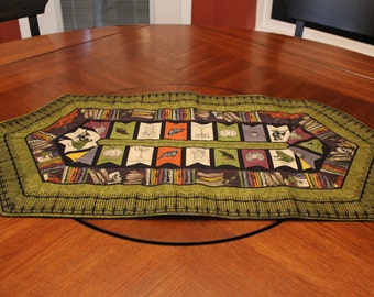 "Halloween Reversible Quilted Table Runner or Topper: Bookshelf/Banner Print & Woodland Fox - 31"" x 15.5"""
