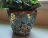 Vintage pottery vase signed turquoise and gold flower pot, planter
