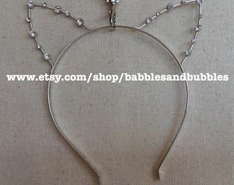 Silver Crystal Cat Ear Headband Tiara - Bridal Tiara - Headband Halloween Costume - NEXT DAY SHIPPING!