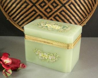 Italian Murano Art Glass Opaline Jewelry Casket Box / Dore Ormolu Mounts / Enameled Floral Bouquets / ORIGINAL tag attached