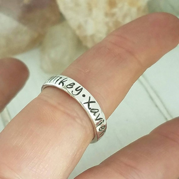 Sterling Silver Name Ring, 4mm, Hand Stamped, Personalized, Custom Made, 5 Names, Stackable Rings, Mommy Name Ring, Mothers Day, Rings