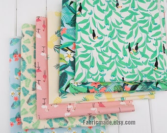 Tropical Rain Forest Trees Flowers Fabric Linen Cotton Shabby Chic Flower Fabric- One Panel 6 Cuts