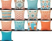 Orange and Aqua throw pillow cover Orange Aqua Natural Grey Mandarin Collection orange pillows pillow sham cushion cover home decor