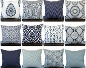 Pillow, Throw Pillow, Pillow Cover, Cushion, Decorative Pillow, Vintage Indigo Blue Navy Gray White contemporary modern home decor